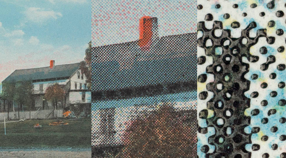 A postcard showing chromolithograph color overlaid with a letterpress halftone under varying magnification, as shown in Graphics Atlas.